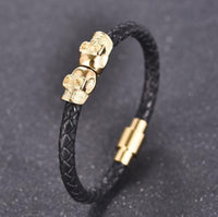 Protection Skull Stainless Steel Leather Bracelet