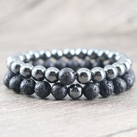 Balancing Hematite and Lava Stone Protection Bracelets