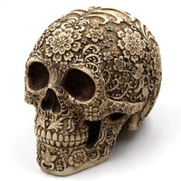 Calavera Flower Carved Skull Statue