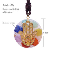 Hand of Fatima Orgonite Chakra Necklace
