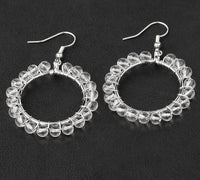 Silver Wire Wrapped Natural Stone Earrings