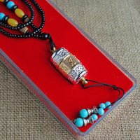 Tibetan Prayer Wheel Pendant Necklace