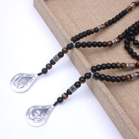 Om Black Onyx Tiger Eye Long Beaded Necklace