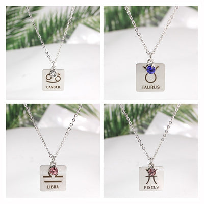 Stainless Steel Constellation Crystal Birthstone Necklace