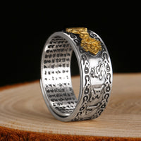 Heart Sutra Adjustable Signet Ring