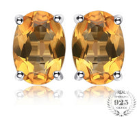 Sterling Silver Natural Citrine Stud Earrings