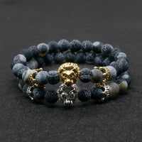 Natural Lava Stone and Black Agate Lion Beaded Bracelet
