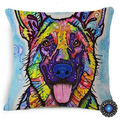 Psychedelic Printed Dog Cushion Covers 45x45cm / style 16 Decoration
