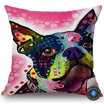 Psychedelic Printed Dog Cushion Covers 45x45cm / style 17 Decoration
