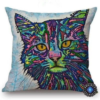 Psychedelic Printed Dog Cushion Covers 45x45cm / style 23 Decoration