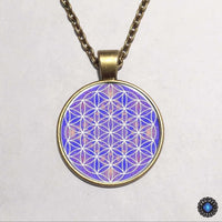 Purple Flower of Life Chakra Pendant Necklace 1
