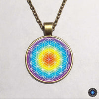 Purple Flower of Life Chakra Pendant Necklace 2
