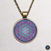 Purple Flower of Life Chakra Pendant Necklace 3