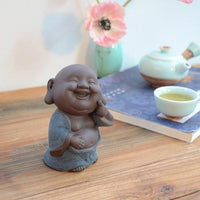 Purple Sand Ceramic Happy Buddha Tea Pet Figurine Blue Buddha Statue