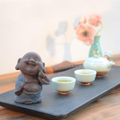 Purple Sand Ceramic Happy Buddha Tea Pet Figurine Buddha Statue