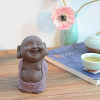 Purple Sand Ceramic Happy Buddha Tea Pet Figurine Purple Buddha Statue