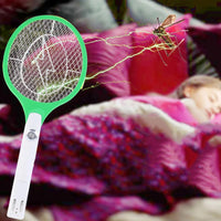 Rechargeable 3-Layer Net Bug Zapper Swatter Racket Pest Control