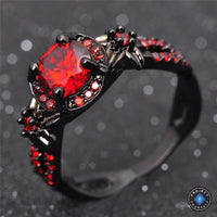 Red Garnet Black Gold Filled Ring Rings