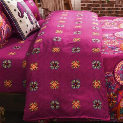 Reversible Ethnic Bohemian Printed Bedding Set Bed Sheets
