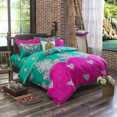 Reversible Ethnic Bohemian Printed Bedding Set Style 1 / King Bed Sheets