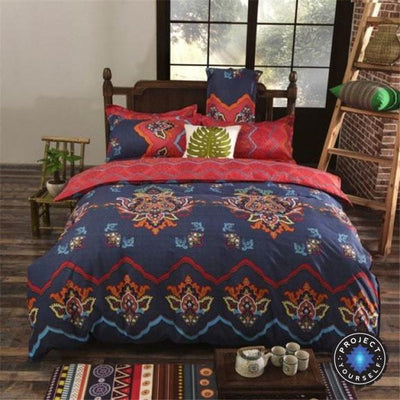 Reversible Ethnic Bohemian Printed Bedding Set Style 10 / King Bed Sheets