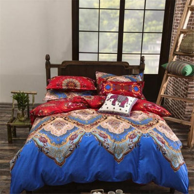 Reversible Ethnic Bohemian Printed Bedding Set Style 11 / King Bed Sheets