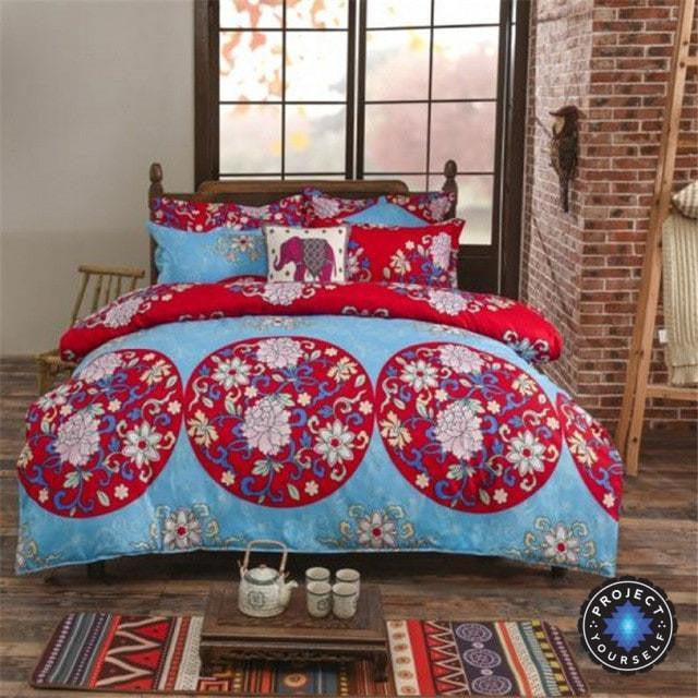 bed sheets printed. Unique Printed Reversible Ethnic Bohemian Printed Bedding Set Style 12  King Bed Sheets Throughout