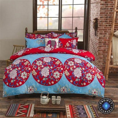 Reversible Ethnic Bohemian Printed Bedding Set Style 12 / King Bed Sheets