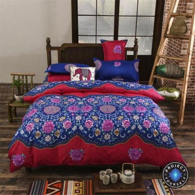 Reversible Ethnic Bohemian Printed Bedding Set Style 2 / King Bed Sheets