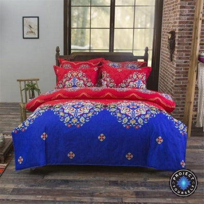 Reversible Ethnic Bohemian Printed Bedding Set Style 3 / King Bed Sheets
