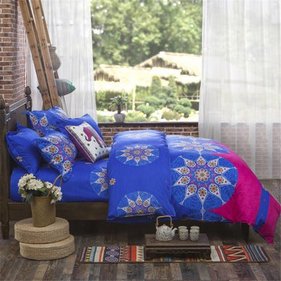 Reversible Ethnic Bohemian Printed Bedding Set Style 4 / King Bed Sheets