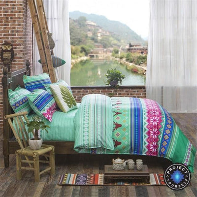 Reversible Ethnic Bohemian Printed Bedding Set Style 5 / King Bed Sheets