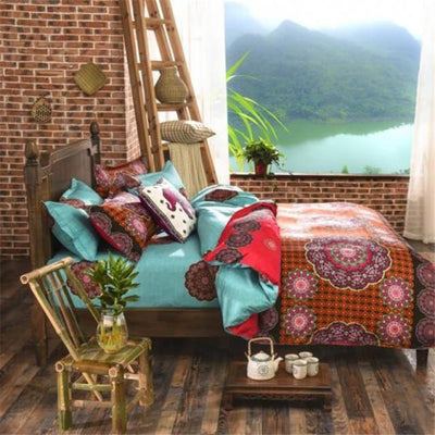 Reversible Ethnic Bohemian Printed Bedding Set Style 6 / King Bed Sheets