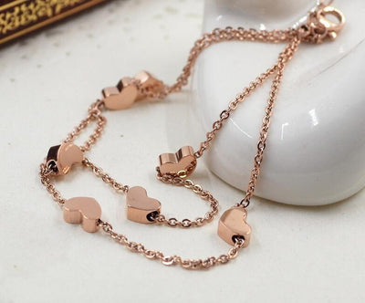 Rose Gold Lovely Hearts Double Layer Anklet Anklets