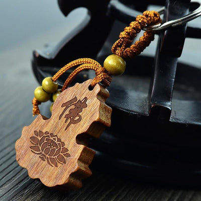Rosewood Hand Carved Gourd Lotus Key Ring Keychains