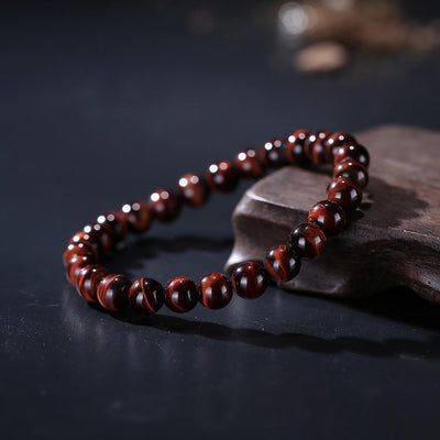 ROXY 3 Natural Red Tiger Eye Beads Bracelet Bracelet