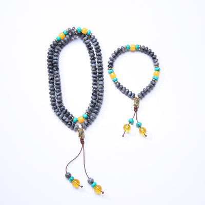 ROXY Flat Natural Lapis Lazuli Stone With 6 Syllable Mantra Tassel and Buddha Head Charm Mala Set Jewelry Set