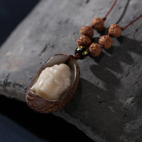 ROXY Hand Carved Guanyin Bodhi Seed Rudraksha Necklace Necklace