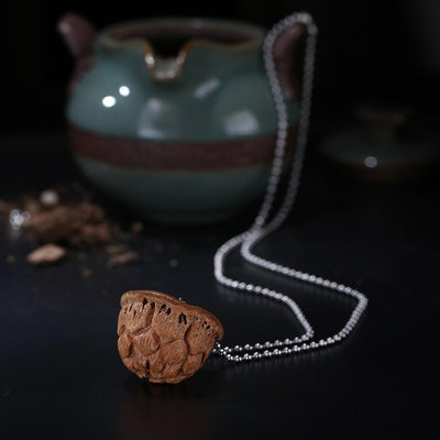 ROXY Hand Carved Lotus Bodhi Seed Pendant Necklace Necklace