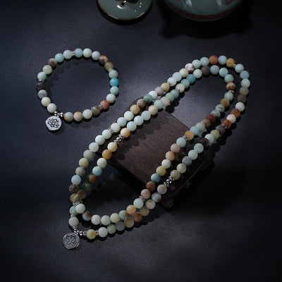 ROXY Matte Amazonite Beads Lotus Charm Mala Set Jewelry Set