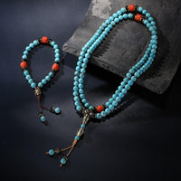 ROXY Natural Turquoise Bead Wrist Mala Set Jewelry Set