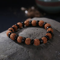 ROXY Six True Words Natural Coconut Shell and Rudraksha Bracelet Bracelet