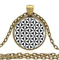 Sacred Geometry Flower of Life Pendant Necklace Antique Bronze Plated Necklace