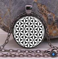 Sacred Geometry Flower of Life Pendant Necklace Black Gun Plated Necklace