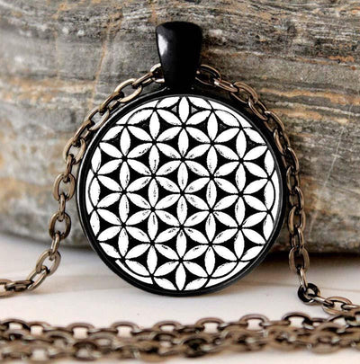 Sacred Geometry Flower of Life Pendant Necklace Black Zinc Plated Necklace