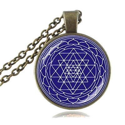 Sacred Geometry Sri Yantra Pendant Necklaces Style 1 Bronze / 45cm Necklace