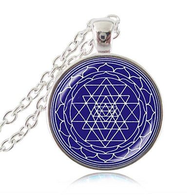 Sacred Geometry Sri Yantra Pendant Necklaces Style 1 Silver / 45cm Necklace