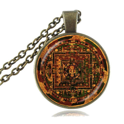 Sacred Geometry Sri Yantra Pendant Necklaces Style 2 Bronze / 45cm Necklace