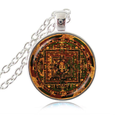 Sacred Geometry Sri Yantra Pendant Necklaces Style 2 Silver / 45cm Necklace