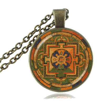 Sacred Geometry Sri Yantra Pendant Necklaces Style 3 Bronze / 45cm Necklace